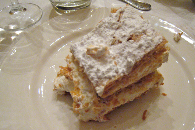 Pierre's birthday cake.  It's a specialty of the region.  Lots of crispy, light layers of pastry with what tastes like whipped cream in between.  Lovely!