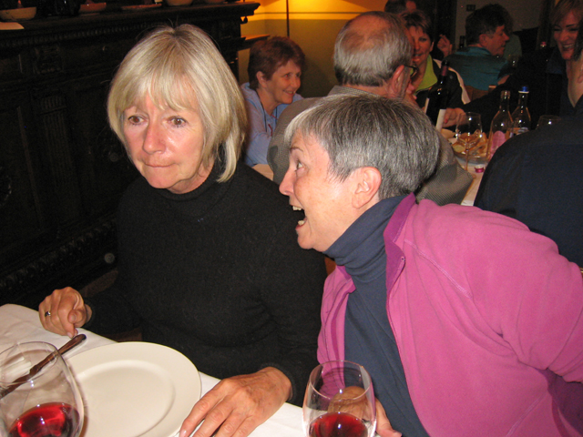 Either this photo is a direct result of too much wine, or Judy and Theresa are super hungry tonight!