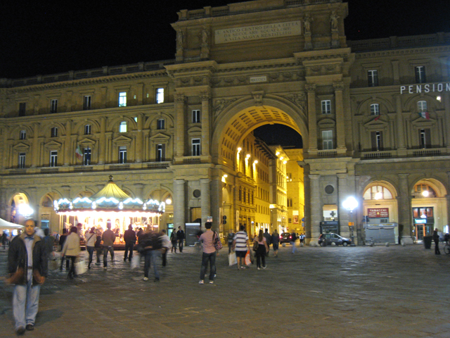 Okay, the arc at the Piazza della Republica was built in 1870.  It's way too new to be Renaissance.  But, it was on the Renaissance walk podcast, so I feel justified including it here.