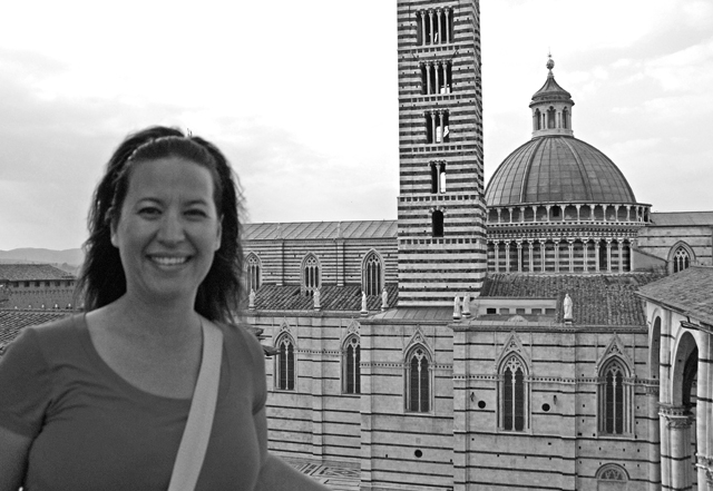 I could claim that this picture is black and white in honor of the cathedral's beautiful black and white marble facade, but this photo was terribly unflattering to me in color. I think it's kinda cute this way, no?