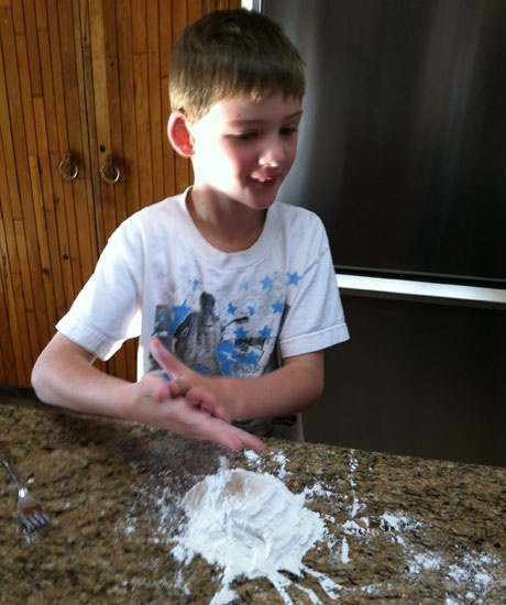 Davis could have mixed the salt and flour with a fork, but aren't fingers so much more fun?
