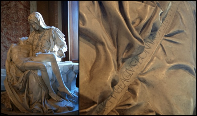 After hearing someone else being given credit for his work, Michelangelo signed the Pieta on the sash across Mary's chest.  It's the only sculpture that bears his signature.