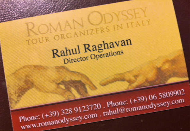 I took a picture of Rahul's business card.  Should you find yourself in need of a Vatican tour guide, give him a call!  His tour was fantastic.