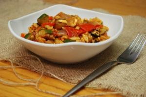 Roasted vegetable and feta orzo