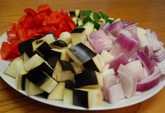 All those pretty colors.  All those expertly chopped vegetables.  It's enough to make my parents cry.