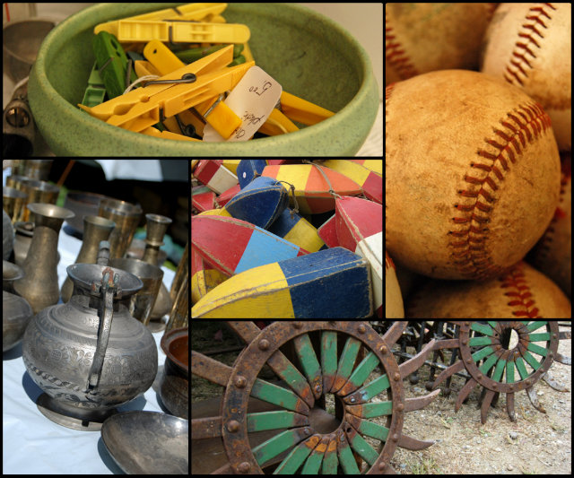 Plastic clothespins, random metal things, weird wagon wheels, old baseballs, and maritime floats. Yay!