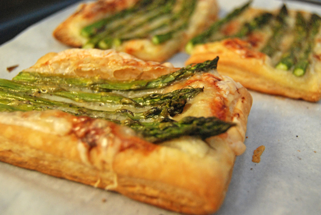 Puff pastry, cheese, and asparagus.  What could be prettier?