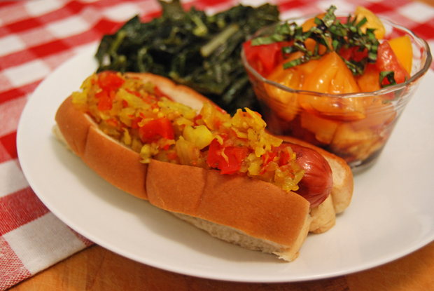 Turkey dog, sauteed kale, and a simple tomato salad with balsamic.  I've always considered hot dogs to be a pickle relish delivery device, don't you?