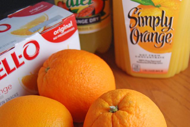 Oranges, orange juice, orange soda and orange jello.  Do you sense a theme?